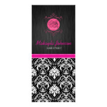 Elegant Black and White Damask with Pink Ribbon Rack Card