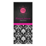 Elegant Black and White Damask with Pink Ribbon Personalized Rack Card