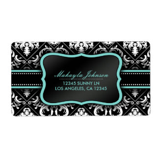 Elegant Black and White Damask with teal blue Label