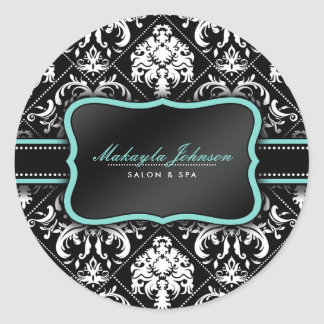 Elegant Black and White Damask with teal blue Classic Round Sticker