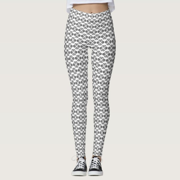 Elegant black and white damask yoga leggings
