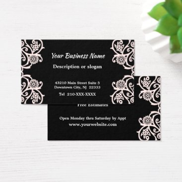 Professional Business Elegant Black and White Deco Flower Business Card