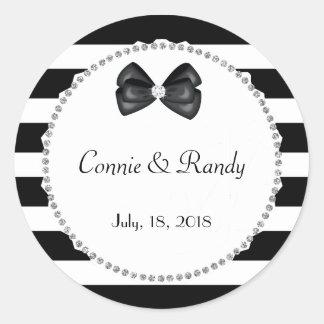Elegant Black and White Diamond Wedding Sticker