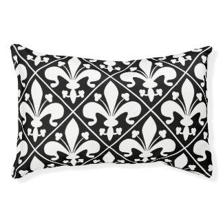 Elegant Black and White Fleur de Lys Pet Bed
