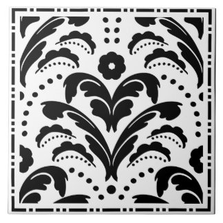 Elegant Black and White Floral Art Deco Damask Ceramic Tile