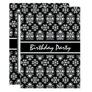 Elegant Black and White Floral Birthday Party Card