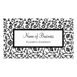 Elegant Black and White Floral Damask Pattern Double-Sided Standard Business Cards (Pack Of 100)