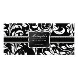 Elegant Black and White Floral Damask Rack Card