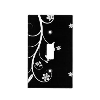 Elegant Black and White Floral Light Switch Light Switch Plates