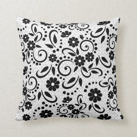 Elegant black and white floral throw pillow