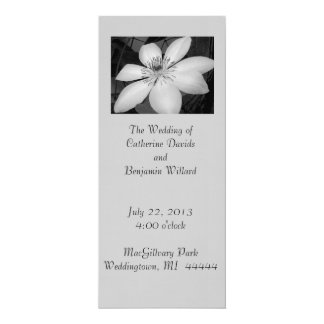 elegant Black and white floral wedding program
