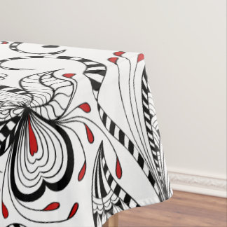 Elegant Black And White Flowers & Hearts Tablecloth