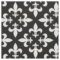 Elegant Black and White French Fleur de Lis Fabric