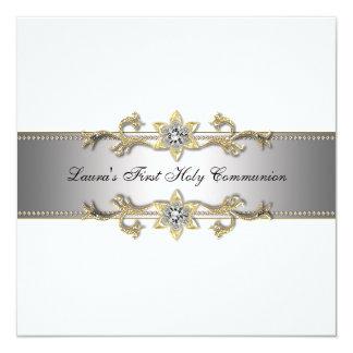 Elegant Black and White Girls First Communion Card