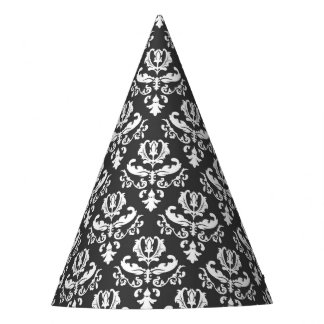 Elegant Black and White Halloween Party Hat