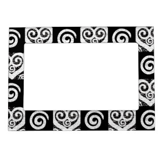 Elegant Black and White Hearts Magnetic Photo Frame