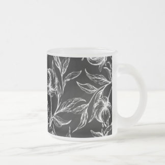 Elegant Black And White Hibiscus Flower Design Frosted Glass Coffee Mug