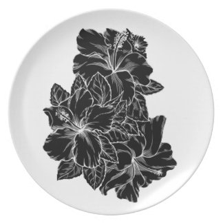 Elegant Black And White Hibiscus Flower Design Party Plate