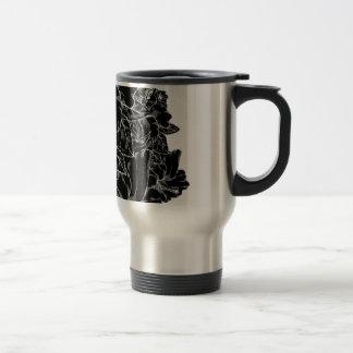 Elegant Black And White Hibiscus Flower Design Travel Mug