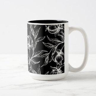 Elegant Black And White Hibiscus Flower Design Two-Tone Coffee Mug