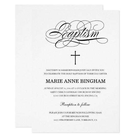 Elegant Black And White Holy Baptism Invitation Zazzle Com