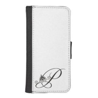 Elegant Black and white initial P Monogram iPhone 5 Wallet Cases