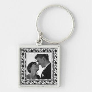 Elegant Black and White Keepsake Photo Keychain