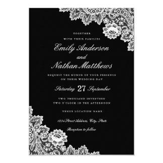 Elegant Black And White Lace Wedding Invitation