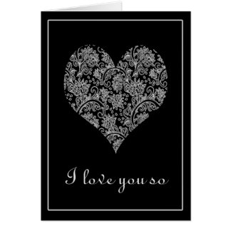 Elegant Black and White Lacy Heart Valentine Card
