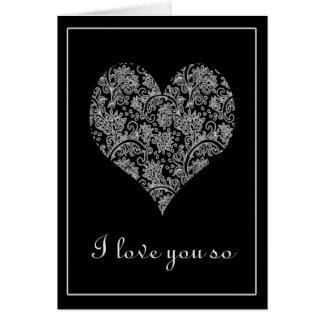 Elegant Black and White Lacy Heart Valentine Card