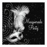 Elegant Black and White Masquerade Party Personalized Invites