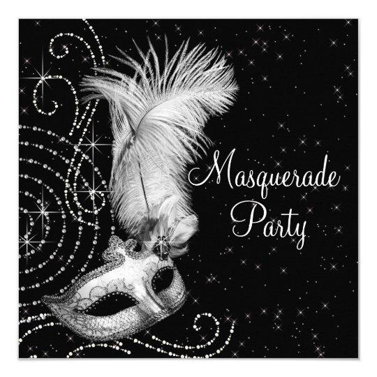 Elegant Black And White Masquerade Party Invitation