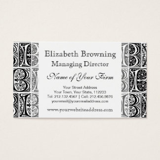 Elegant Black and White Medieval Letter B Business Card