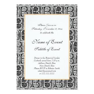 Elegant Black and White Medieval Letter B Card
