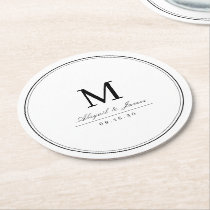 Elegant black and white minimalist monogram round paper coaster