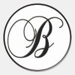 Elegant Black and White Monogram - B - Customized Stickers