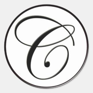 Elegant Black and White Monogram C Classic Round Sticker