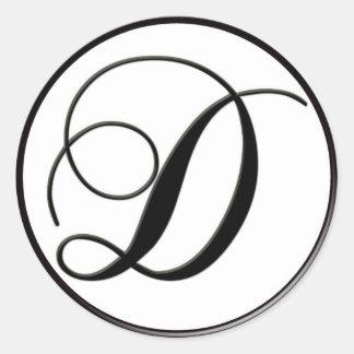 Elegant Black and White Monogram D Classic Round Sticker