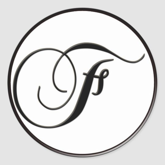 Elegant Black and White Monogram F Classic Round Sticker