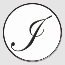 Elegant Black and White Monogram I Sticker