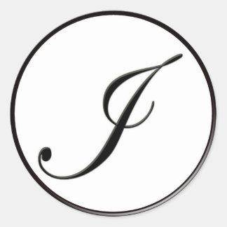 Elegant Black and White Monogram I Classic Round Sticker