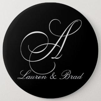 Elegant black and white monogram - initial A Pinback Button