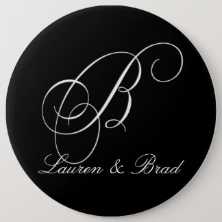 Elegant black and white monogram - initial b button