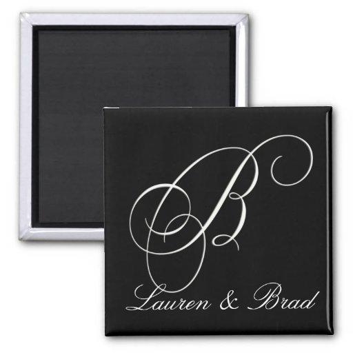 Elegant black and white monogram - initial B Refrigerator Magnets