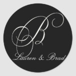 Elegant black and white monogram - initial B Round Stickers