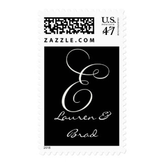 Elegant black and white monogram - initial e postage