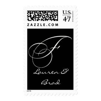 Elegant black and white monogram - initial F Stamp