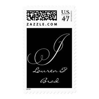Elegant black and white monogram - initial j postage