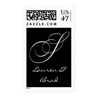 Elegant black and white monogram - initial S Postage Stamp