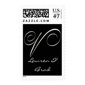 Elegant black and white monogram - initial V Postage Stamp